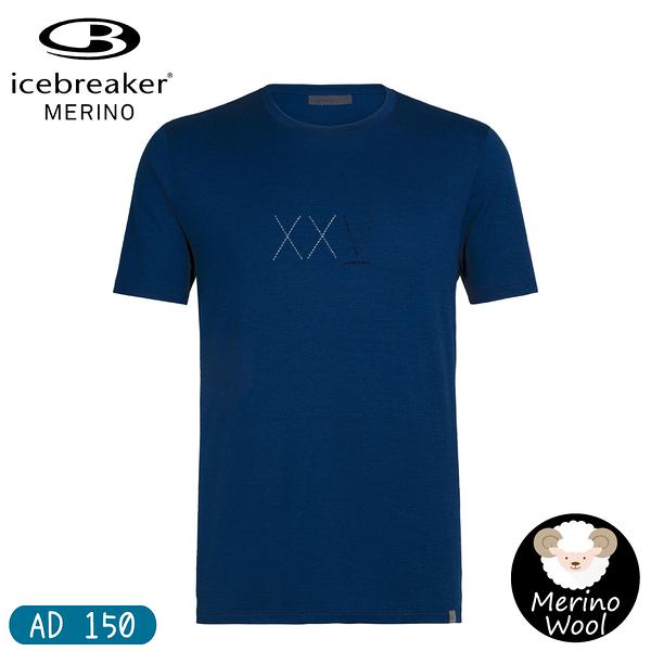 【Icebreaker 男 Nature Dye圓領短袖T-shirt AD150經典XXV《深藍》】105170/快乾機能服