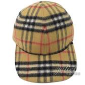 茱麗葉精品【全新現貨】BURBERRY 8005287 復古格紋羊毛棒球帽.卡其 XL
