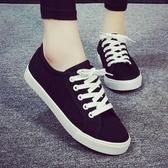 新款夏季薄款小白鞋女百搭基礎平底板鞋子春季學生白色帆布鞋 雙12全館免運