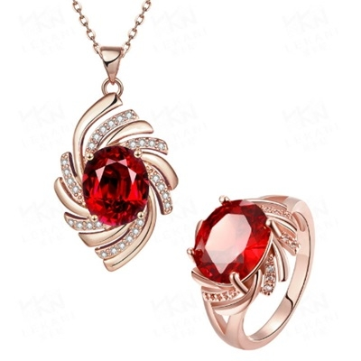 玫瑰金銀飾套裝含項鍊+戒指-幾何線條生日情人節禮物女飾品3色73bv2[時尚巴黎]