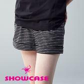 【SHOWCASE】立體條紋打摺寬口短褲(黑)