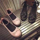 日系娃娃鞋原宿風平底圓頭小皮鞋蝴蝶結