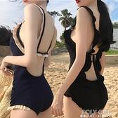 泳衣女韓國網紅ins溫泉性感露背比基尼小胸聚攏遮肚顯瘦連身泳裝 夏季新品