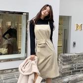 連身裙 簡約腰包收腰細肩帶皮洋裝RJ6038-創翊韓都