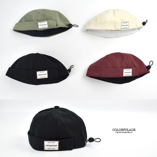 水兵帽 素色布標復古文青可調式帽子NHE9