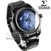 SIGMA 席格瑪 多邊型三眼多功能都會腕錶 男錶 IP黑電鍍x藍 藍寶石水晶 1018M-B3