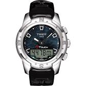 TISSOT 天梭 T-TOUCH II 鈦真鑽多功能觸控手錶-黑貝/42.7mm T0472204612600