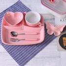 ▶出口日式分格盤陶瓷早餐快餐盤學生食堂飯菜盤分隔盤單人餐具套裝