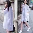 2021夏裝新款韓范休閒短袖白色襯衫女大碼上衣中長款寬鬆BF襯衣裙 依凡卡時尚