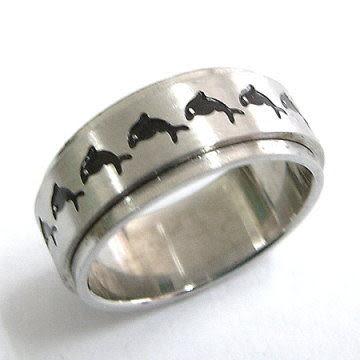 轉運戒 海豚西德鋼戒指 (美圍5-10號)