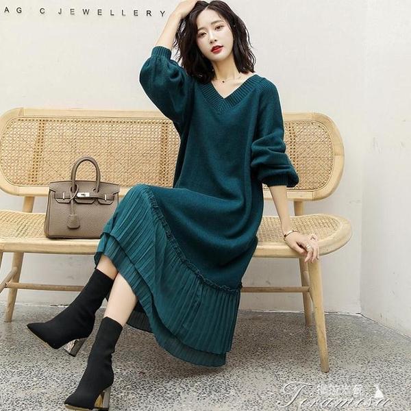 針織洋裝 秋冬季毛衣裙女韓版雪紡拼接寬松大碼針織衫連衣裙中長款過膝套頭 快速出貨