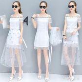 大尺碼女裝夏季新款套裝裙子露肩中長款網紗蕾絲拼接短袖兩穿洋裝 QG5212『樂愛居家館』