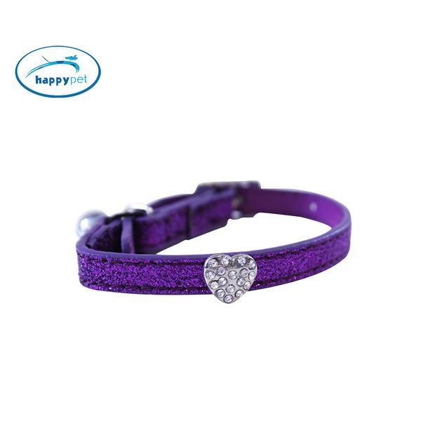 【英國HappyPet】貓咪項圈 水鑽之心人造皮革貓咪項圈 紫色 #10867