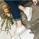 厚底板鞋增高帆布鞋女韓版百搭休閒【愛物及屋】