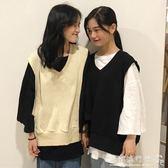 長袖女t恤  寬鬆小吊帶上衣女韓版學生針織毛衣馬甲兩件套  歐韓流行館