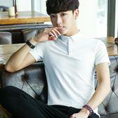 夏季男士短袖t恤純色半袖韓版修身有翻領polo純棉潮流學生簡約『潮流世家』