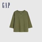 Gap男童 純棉質感厚磅七分袖T恤 758972-綠色