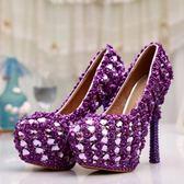 圓頭高跟鞋-超高跟水鑽搶眼熱賣女水晶婚鞋73e29[巴黎精品]