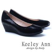 ★2017秋冬★Keeley Ann神秘魅力~素面質感格紋OL全真皮楔形鞋(黑色)