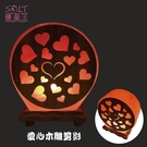 鹽燈專家【鹽晶王】愛心木雕剪影鹽燈,實木底座,亦可當小夜燈。