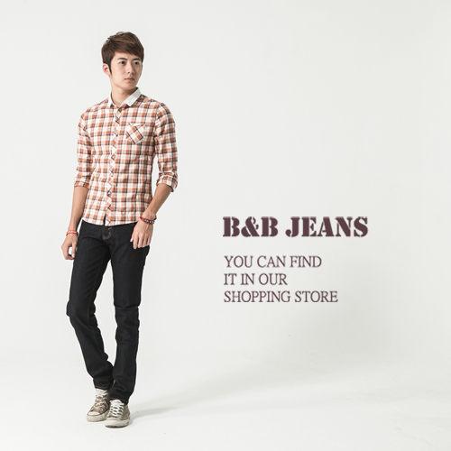 牛仔褲-丹寧原色質感繡線修身牛仔褲