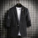西裝外套男 夏季男士黑色中袖西服薄款鏤空透氣網眼小西裝外套青年發型師衣服 618搶購