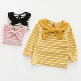 上衣 女童寶寶T恤秋款長袖條紋上衣小童嬰兒翻領打底衫4春秋0-1-3歲2潮【中秋節】
