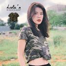 LULUS-Y迷彩短版短袖T恤-綠  【01190211】