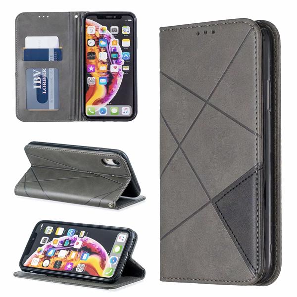 蘋果 XR XS i8 Plus XS MAX iX i7 Plus 菱形暗磁皮套 手機皮套 掀蓋殼 插卡 支架 保護套