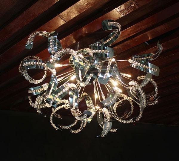 鉻色鏡面複刻版螺旋吸頂燈─長60高40─G4╳12【雅典娜家飾】AGZ159