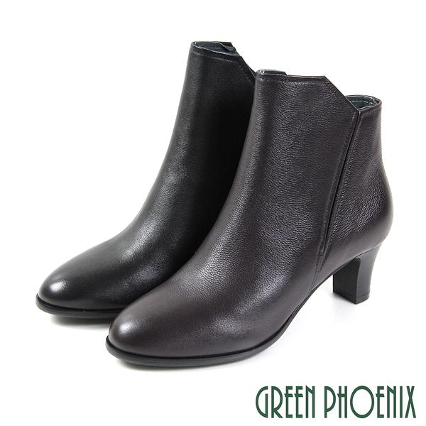 U35-2C122 女款全真皮短靴   不對稱線條剪裁全真皮中跟短靴【GREEN PHOENIX】