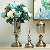 擺件  歐式玻璃花瓶水晶擺件現代簡約美式插花裝飾品餐桌電視櫃客廳家居  蒂小屋服飾 IGO