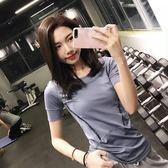 春夏季運動短袖T恤女速干衣透氣顯瘦緊身跑步瑜伽健身上衣 【快速出貨八折免運】