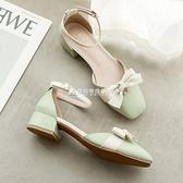 涼鞋 包頭涼鞋女新款夏季中跟百搭中跟低跟單鞋少女仙女風溫柔鞋 快速出貨