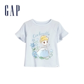 Gap 女幼童 Gap x Disney迪士尼系列公主荷葉邊短袖T恤 591057-天藍