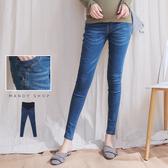 【MN0199】腰可調造型車線窄管牛仔褲