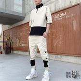 七分袖T恤 男士套裝短袖T恤七分袖夏季體恤韓版潮流工裝褲休閒衣服潮牌上衣 6色
