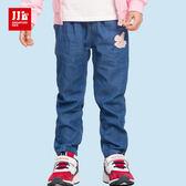 JJLKIDS 女童 可愛小兔鬆緊牛仔褲(牛仔藍)