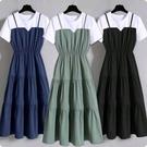 大碼女裝時尚吊帶假兩件長裙2020夏季胖...