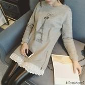 漂亮小媽咪 PARIS洋裝 【D2168】 鐵塔 布蕾絲 拼接 長袖 孕婦洋裝 孕婦裝 長版棉T 孕婦裙