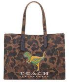 COACH F26895 迷彩棕色女包女款帆布包恐龍單肩手提包購物袋