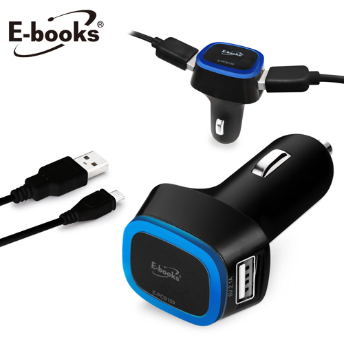 E-books B13 雙孔USB車用充電傳輸組-黑【屈臣氏】