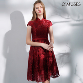 OMUSES 全尺碼*蕾絲刺繡改良式旗袍短禮服*