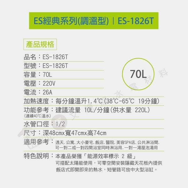 『怡心牌熱水器』 ES-1826T直掛式電熱水器 70公升 220V (調溫型) 大坪數公寓透天用 原廠公司貨