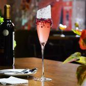 酒杯玻璃杯子高腳杯雞尾酒杯起泡酒杯酒吧無鉛水晶斜口香檳杯甜酒【快速出貨】