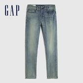 Gap男裝 做舊水洗中腰修身錐形牛仔褲 632095-淡藍色