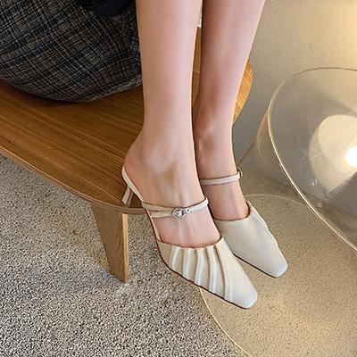 羊皮涼鞋 法式包頭涼鞋 細跟一字扣涼拖/3色-夢想家-標準碼-0401