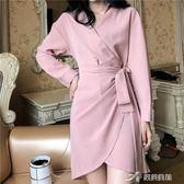 韓風Chic氣質V領綁帶修身長袖洋裝早秋新款不規則襯衫裙 樂芙美鞋