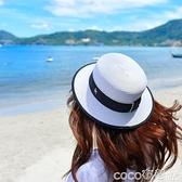 熱賣平頂帽平頂白色草帽短檐帽子女夏天涼帽小禮帽遮陽太陽帽網紅時尚夏季潮 coco