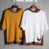 2018夏季青少年拼色t恤男寬鬆半袖連帽衛衣男裝時尚日系個性短袖T【完美男神】